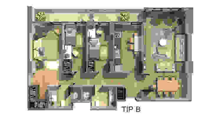 örnek daire plan görseli ms mimarlık Modern