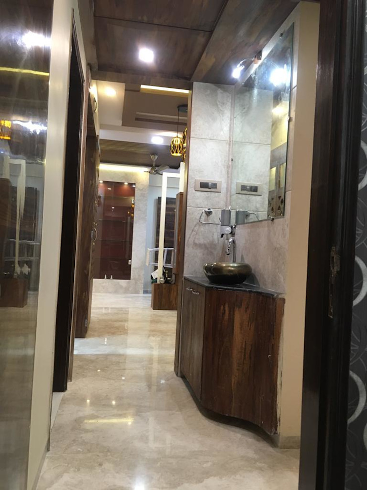 Mr. & Mrs. Nair House Project Asian style corridor, hallway & stairs by Six Elms Interiors Asian