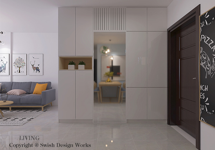 Shoe cabinet to conceal bomb shelter Modern corridor, hallway & stairs by Swish Design Works Modern Plywood