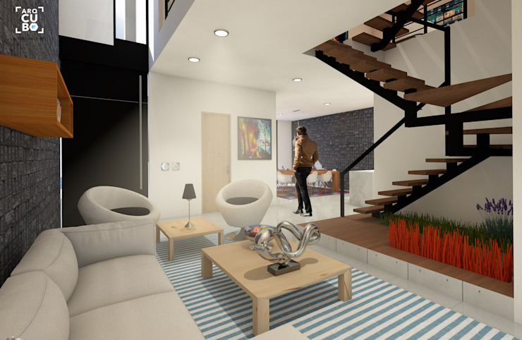 Arqcubo Arquitectos Living room Wood White