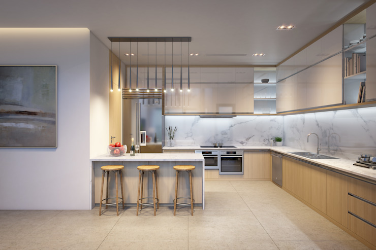 Nội thất phòng bếp: tối giản  by Mspace.vn, Tối giản Đá hoa