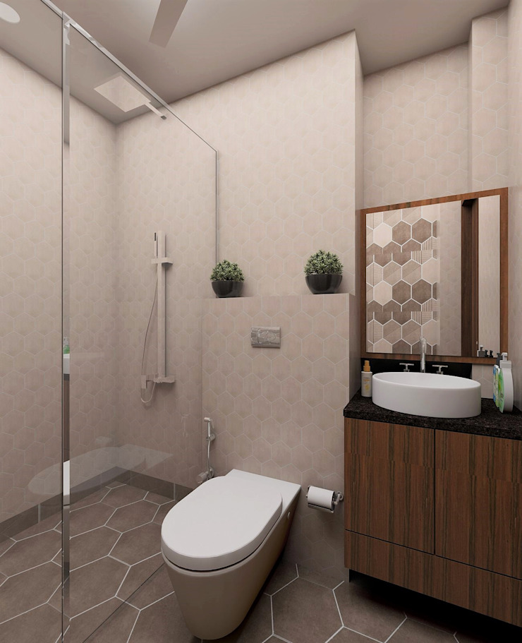 Trendy Hexagon Tile decor bathroom Modern style bathrooms by Tanish Dzignz Modern