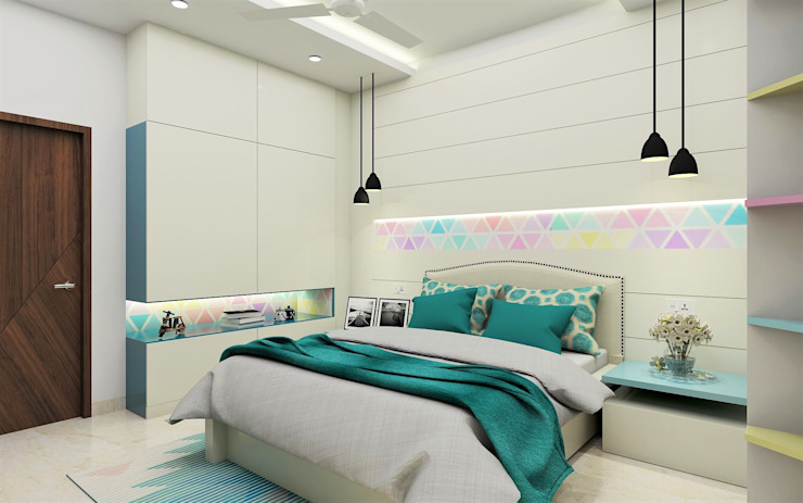 Teenage girl Bedroom- clutterfree and organised Tanish Dzignz Modern style bedroom Multicolored