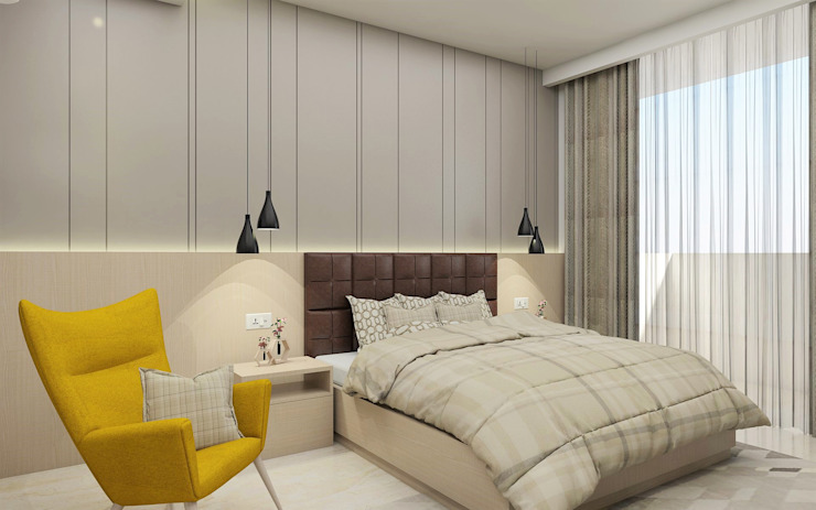 Master Bedroom- Modern Melody Tanish Dzignz Modern style bedroom Grey