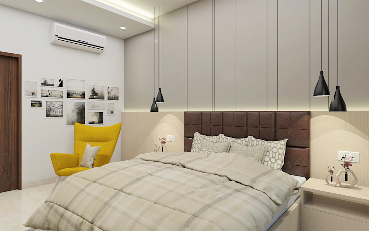 Master bedroom- Simply Superb Tanish Dzignz Modern style bedroom Grey