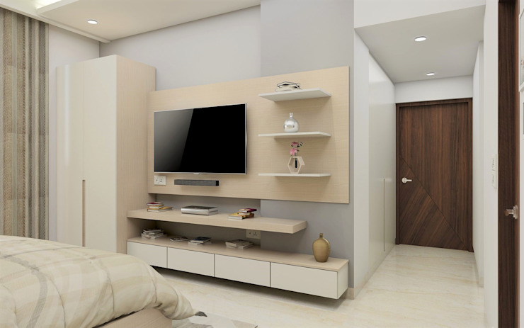 Master Bedroom- Modern Clean Minimalistic Tanish Dzignz Modern style bedroom Grey