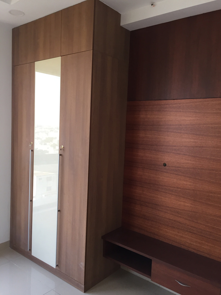 Wardrobe with TV Unit Hoop Pine Interior Concepts BedroomWardrobes & closets Plywood Brown