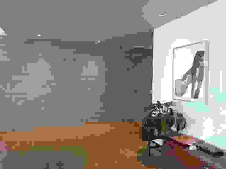Hall de acceso entrearquitectosestudio Pasillos, vestíbulos y escaleras de estilo moderno Cerámico Gris