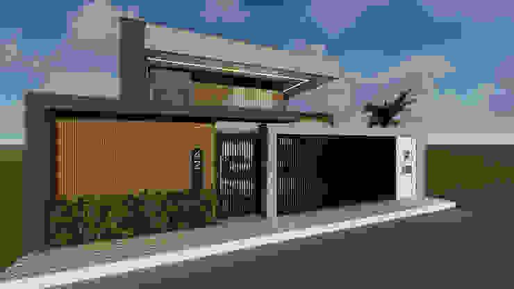 Portão de entrada para residência Polliana Pertence Arquitetura e Interiores Casas familiares