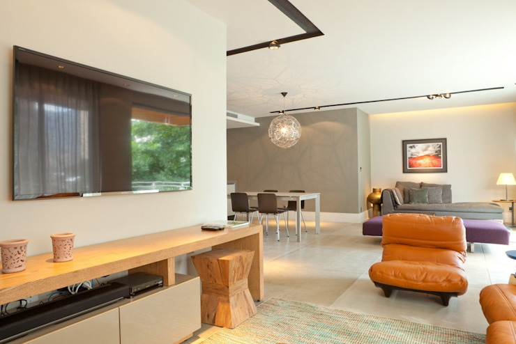 AGE/Alejandro Gaona Estudio Living room Concrete White