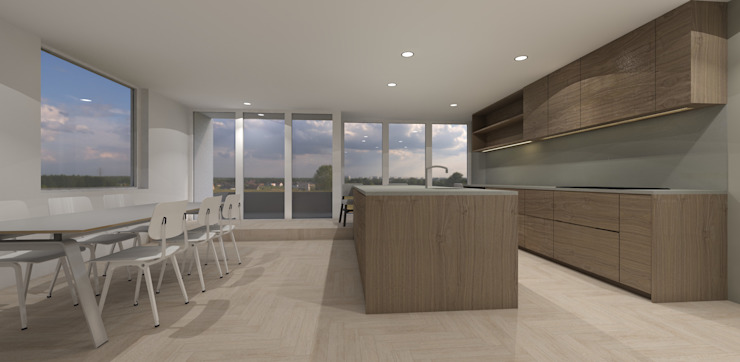 grote woonkeuken met eiland Studio DEEVIS Moderne keukens Hout