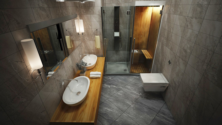 Modern bathroom by ARCONPROJE Modern Wood-Plastic Composite