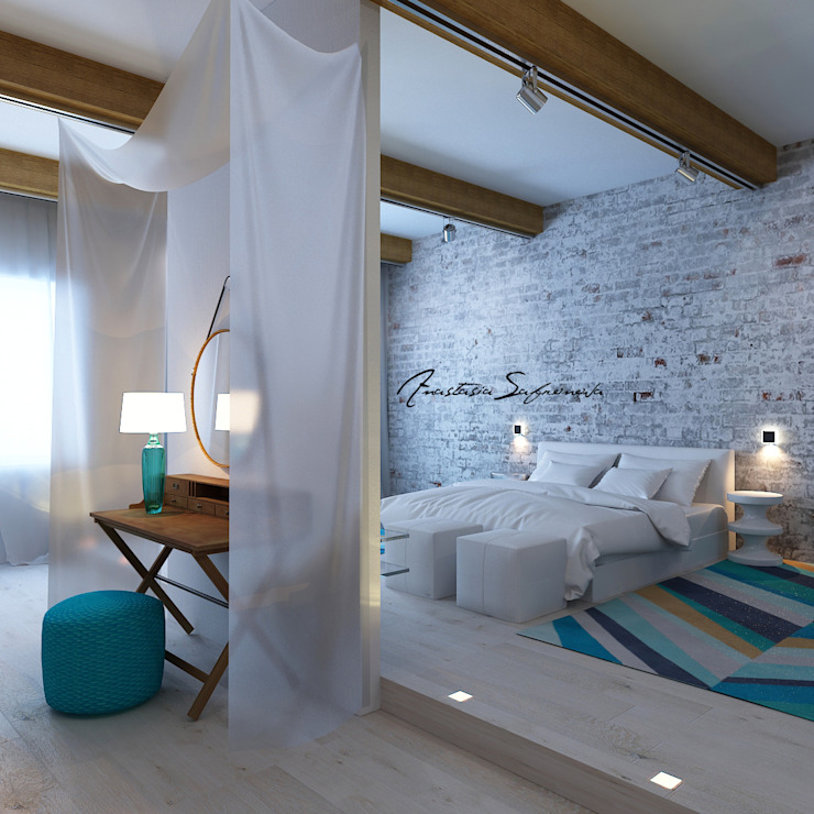 Сафронова Анастасия Minimalist bedroom Bricks White