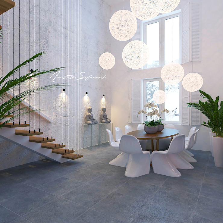 Сафронова Анастасия Minimalist dining room Concrete White