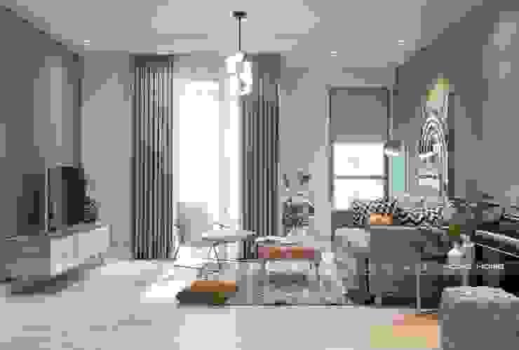 Thiết kế nội thất phòng khách: scandinavian  by Công ty cổ phần kiến trúc nội thất Home&Home, Bắc Âu