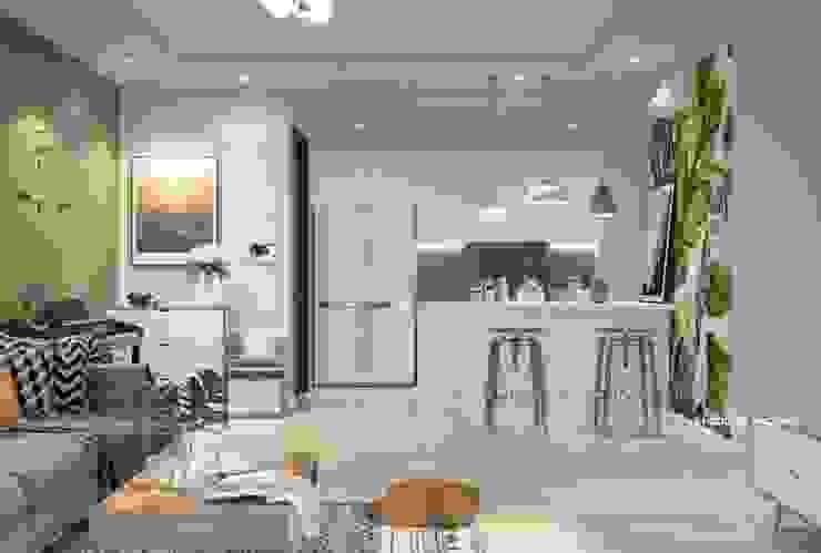 Thiết kế nội thất phòng khách liền bếp: scandinavian  by Công ty cổ phần kiến trúc nội thất Home&Home, Bắc Âu