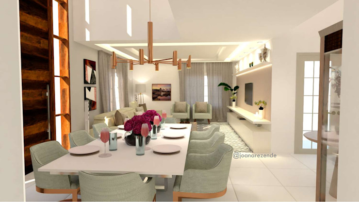 Sala de jantar com branco e dourado Salas de jantar clássicas por Joana Rezende Arquitetura e Arte Clássico