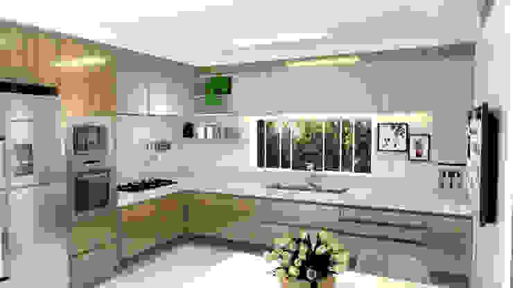 Cozinha com madeira e granito branco icaraí Cozinhas modernas por Joana Rezende Arquitetura e Arte Moderno