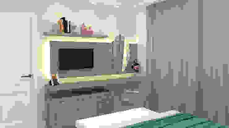 Painel de tv e mesa de apoio para quarto de casal por Joana Rezende Arquitetura e Arte Moderno