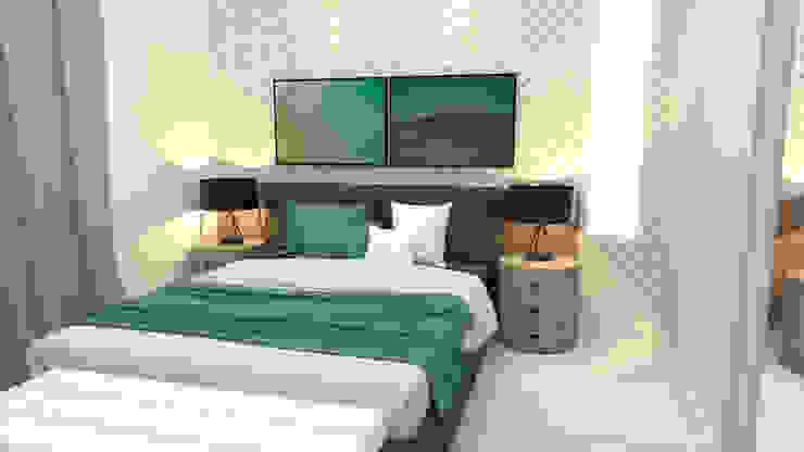 Cabeceira de quarto de casal por Joana Rezende Arquitetura e Arte Moderno