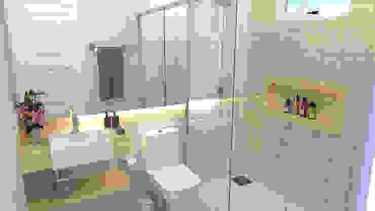 Banheiro simples com cuba de semi-encaixe e espelho retroiluminado Banheiros modernos por Joana Rezende Arquitetura e Arte Moderno