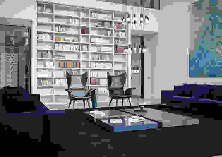 Living room Aeon Studio Soggiorno minimalista Blu