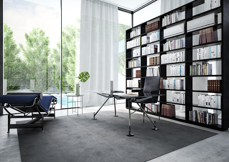 Minimalist study/office by Aeon Studio Minimalist Glass