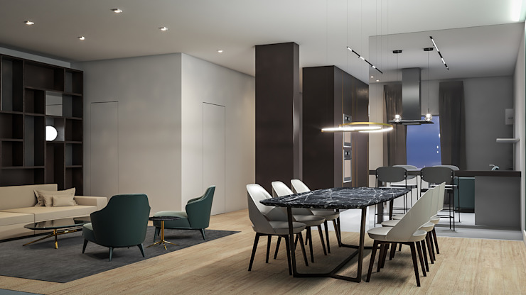 Dining room Aeon Studio Soggiorno minimalista Vetro Verde