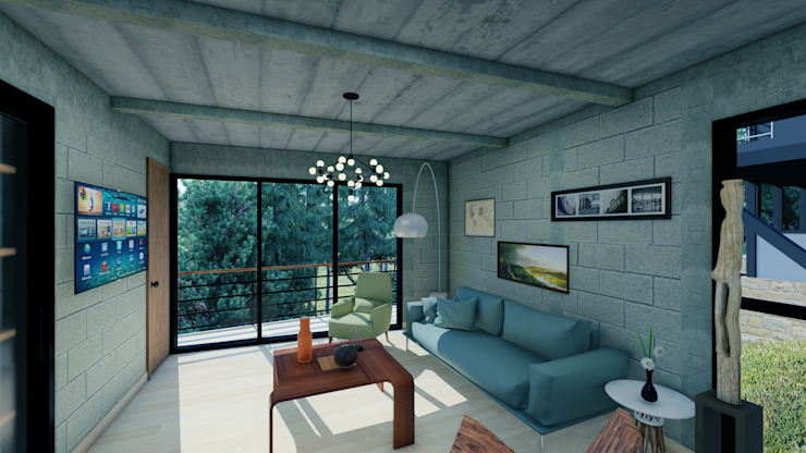 Arq. Rodrigo Culebro Sánchez Industrial style living room