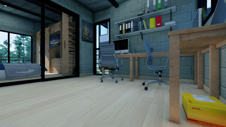 Arq. Rodrigo Culebro Sánchez Industrial style study/office
