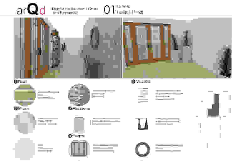 Pasillo y hall Pasillos, halls y escaleras escandinavos de ARQD spa Escandinavo Madera Acabado en madera