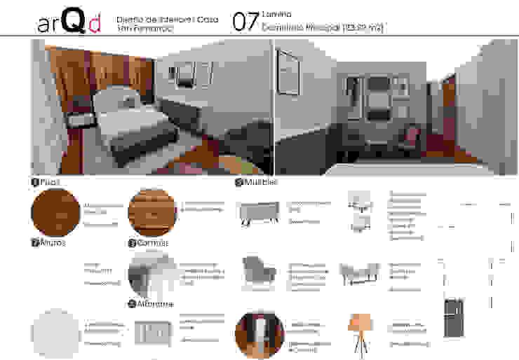 Dormitorio principal: Dormitorios de estilo  por ARQD spa, Escandinavo