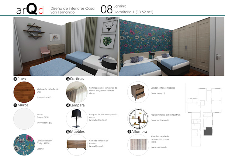 Dormitorio: Dormitorios infantiles de estilo  por ARQD spa, Escandinavo