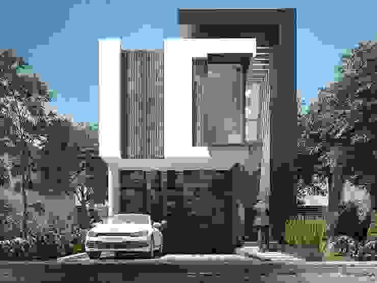 Hermosa fachada moderna con una bellísima combinación de colores Casas modernas de Rebora Moderno
