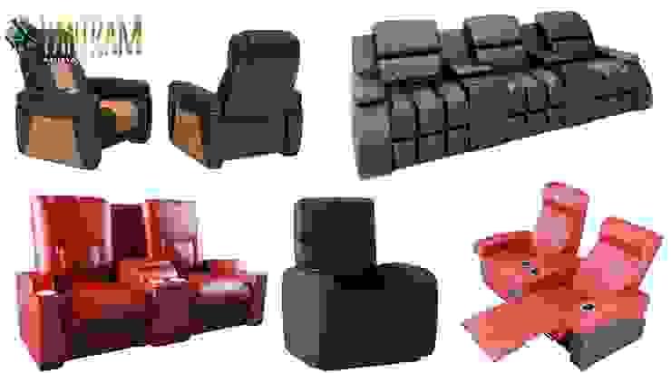 Realistici servizi di modellazione e visualizzazione di divani sedia 3D dallo studio di visualizzazione architettonica di Yantram Design Studio di architettura Moderno