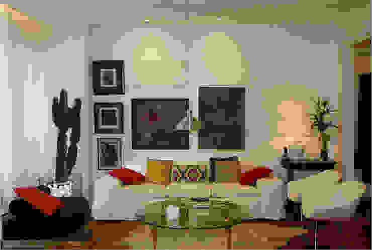 Apartamento RHL Viviane Cunha Arquitetura Salas de estar modernas
