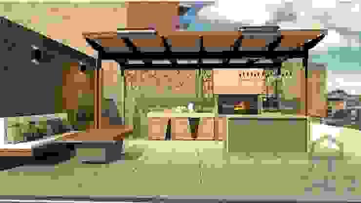 TERRAZA CONJUNTO RESIDENCIAL CASAS DEL ESTE BBQ Balcones y terrazas de estilo moderno de Plano 13 Moderno Madera Acabado en madera