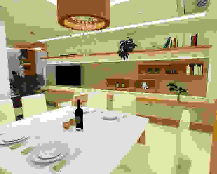 Sala de Jantar e Estar Dédalo Bioarquitetura & Bioconstrução Salas de jantar asiáticas Bege