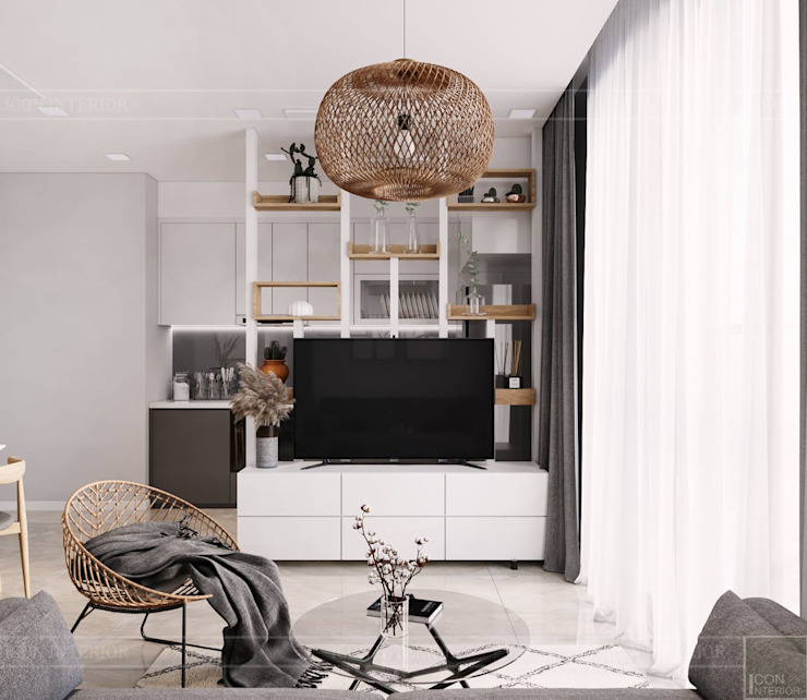 Thiết kế căn hộ 2 phòng ngủ phong cách Scandinavian Phòng khách phong cách Bắc Âu bởi ICON INTERIOR Bắc Âu