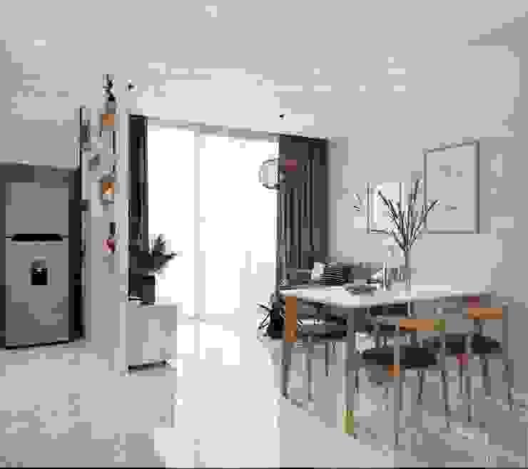 Thiết kế căn hộ 2 phòng ngủ phong cách Scandinavian Phòng ăn phong cách Bắc Âu bởi ICON INTERIOR Bắc Âu