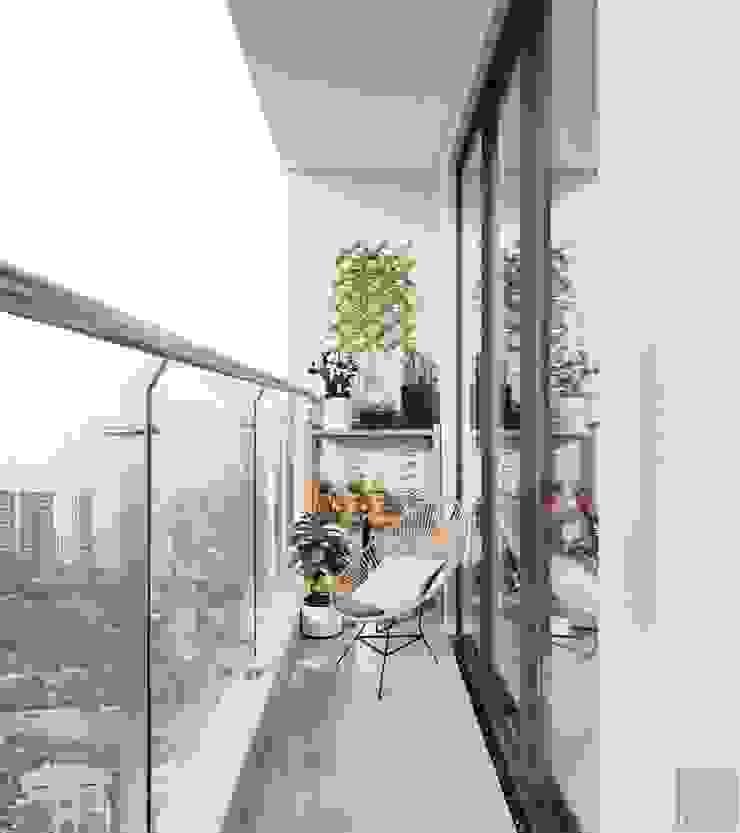 Thiết kế căn hộ 2 phòng ngủ phong cách Scandinavian Hành lang, sảnh & cầu thang phong cách Bắc Âu bởi ICON INTERIOR Bắc Âu