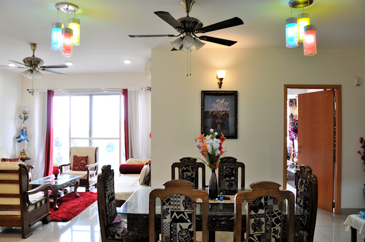 Ethnic & Contemporary yet Modern Classic style dining room by 3A Architects Inc Classic Solid Wood Multicolored