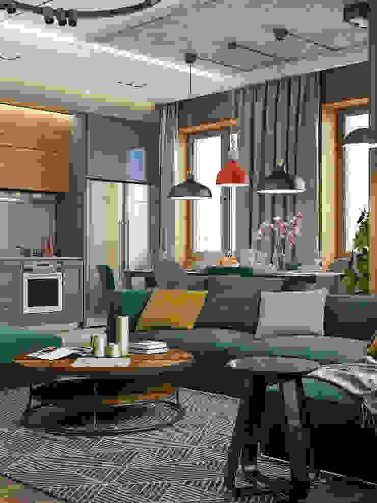 Phòng khách phong cách công nghiệp bởi Interior designers Pavel and Svetlana Alekseeva Công nghiệp