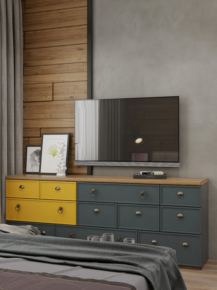 Phòng ngủ phong cách công nghiệp bởi Interior designers Pavel and Svetlana Alekseeva Công nghiệp
