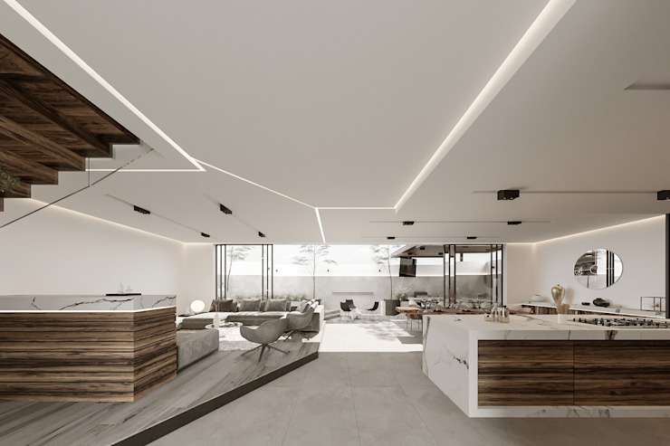 Rebora Arquitectos Minimalist corridor, hallway & stairs White