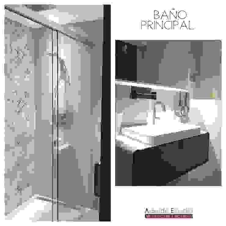 BAÑO PRINCIPAL: Dormitorios de estilo  de Arquide Estudio, reforma y rehabilitación en Madrid, Moderno