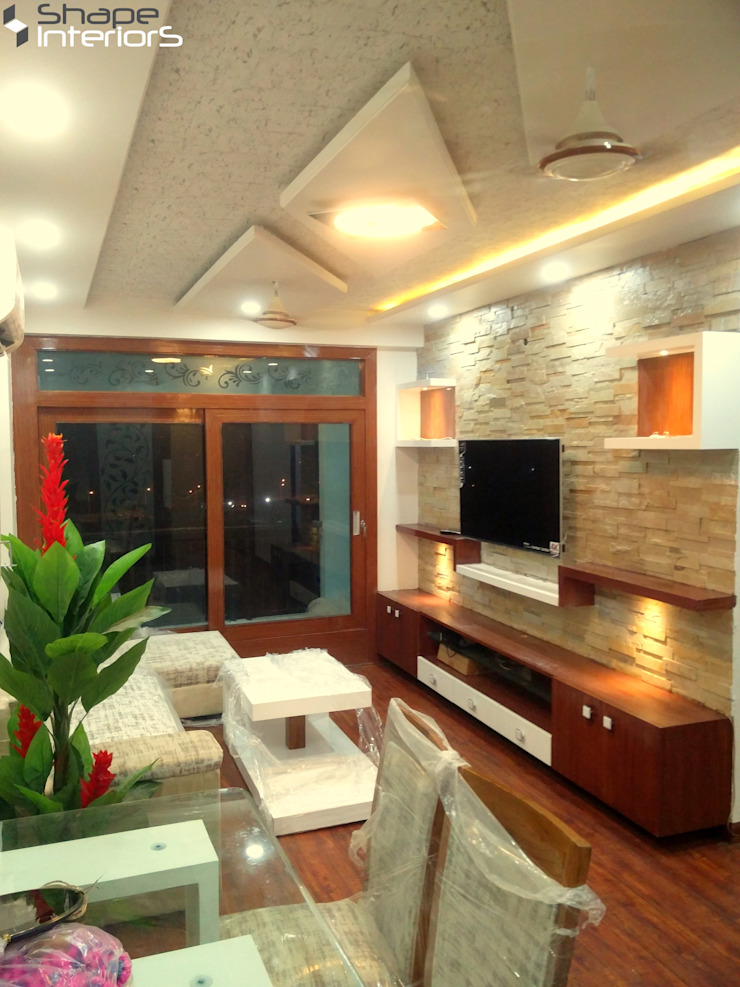 Flat interior in amjer road jaipur Shape Interiors Modern living room