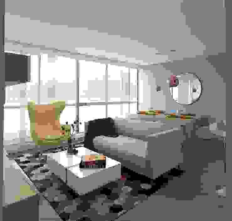 Remodelación apto conjunto monterrey barrio san rafael Salas modernas de Moss arquitectura y mobiliario SAS Moderno Madera Acabado en madera