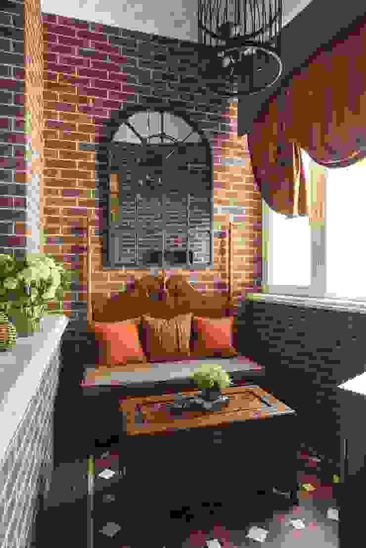 studio68-32 Colonial style balcony, veranda & terrace Stone Brown