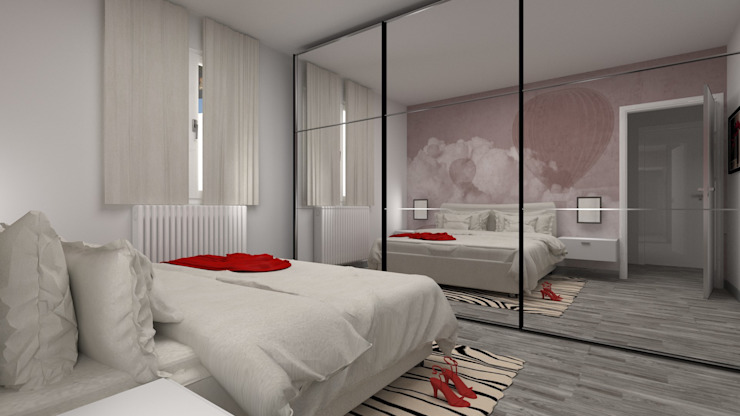 Gioco di specchi PAOLO TOLOMELLI ARCHITETTO Camera da letto moderna